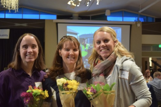 Honored nominees from left, Heather Howe, Pam Scroggins, Jonette Dixon