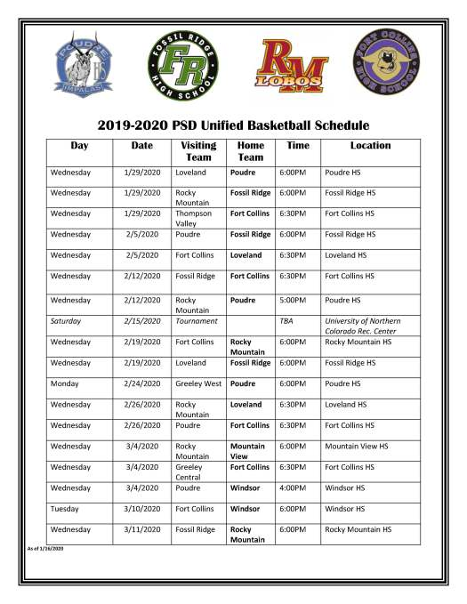 Unified Basketball Schedule 2020